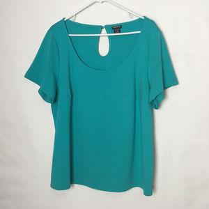 Torrid Aqua Blue/Green Top Short Sleeves Size 3